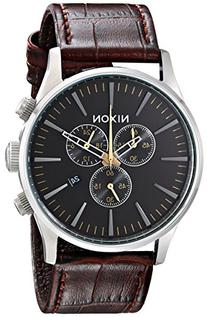 Nixon Men's A4051887 Sentry Stainless Steel Watch with Brown