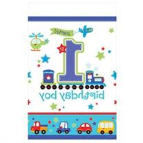 All Aboard 1st Birthday Plastic Table Cover