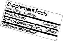 Acetyl L-Carnitine 250mg * 100 caps 100 % Natural - by
