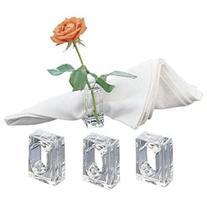 Acrylic Set of 4 Flower Bud Square Napkin Ring