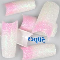 350BUY Acrylic Pink White Glitter Powder Mix Style French