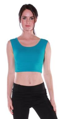 Emmalise Women's Active Muscle Crop Tank Top Shirt Tee Teal