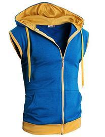 H2H Mens Pokemon ash Sleeveless Hoodie Zip-up Vest BLUE US S