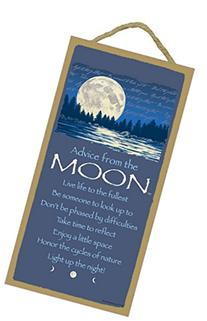 Advice From the Moon - Wooden Sign Plaque - Made in USA