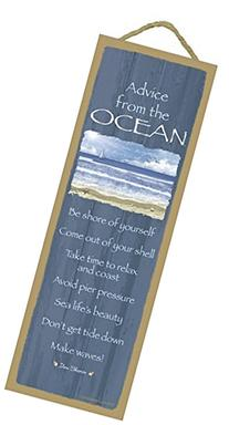 Advice from the Ocean primitive wood plaque, sign - measure
