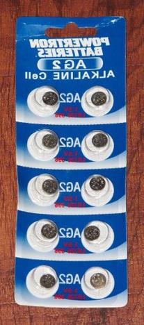 10-pack Powertron AG2 1.5V Alkaline Button Cell Batteries