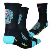 DeFeet AirEator HiTop Sugar Skull Cycling/Running Socks -