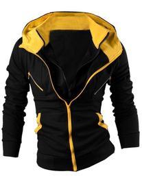 Allegra K Men Layered Design Zip Hoodies Sweatshirt Jackets
