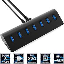 Sabrent 7 Port Aluminum USB 3.0 Hub with 5V/4A Power Adapter