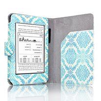 Amazon Kindle Paperwhite Case Damask Blue - Slim Folio PU