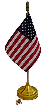 American Flag 4x6 Inch with Weighted Base and Flag Lapel Pin