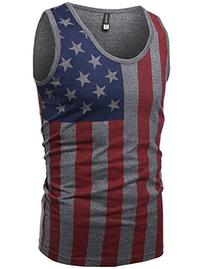 American Flag Patriotic Sleeveless Tank Top Charcoal Size M