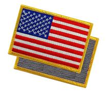 American Flag Embroidered Tactical Patch Gold Border w/
