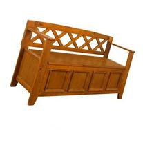 Amherst Wood Storage Entryway Bench, Light Avalon Brown
