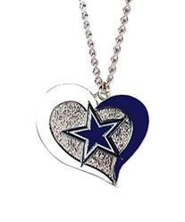 NFL Dallas Cowboys Swirl Heart Necklace Charm Gift Set
