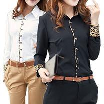 Zonars Women Summer Career Lady Black/White Leopard T Shirt