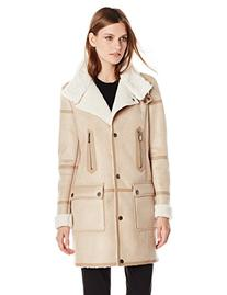 T Tahari Women's Angie Faux Shearling Jacket, Camel, Large