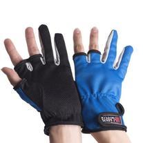 Estone 1 Pair Anti-slip 3 Low Fingers Cut Fishing Gloves