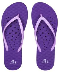 Showaflops Girl's Antimicrobial Shower & Water Sandals - Violet/Lavender Elongated Heart 2/3