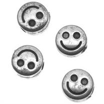 Antiqued Silver Metallized Plastic - Flat Smiley Face Beads