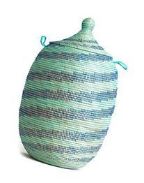Aqua and Blue Swirl Laundry Basket Certified Fair Trade