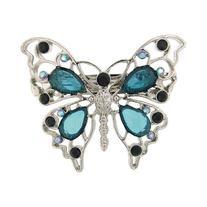 1928 Company Aqua Teal Crystal Butterfly Silver Hair