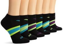 Saucony Women's 6-Pack Performance No Show Socks, Black