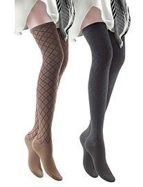 Vero Monte 2 Pairs Women's Argyle Opaque Thigh High Socks