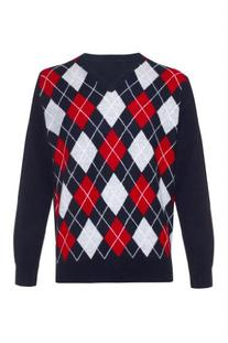Haggar Men's Allover Argyle V-Neck Sweater, Brown, XX-Large