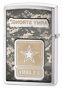 Zippo Army Strong Brushed Chrome Lighter