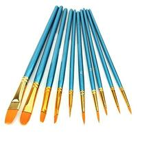 Heartybay 10Pieces Round Pointed Tip Nylon Hair Brush Set,