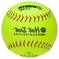 Worth Asa Hot Dot Slow Pitch Softballs Protac One Dozen 12