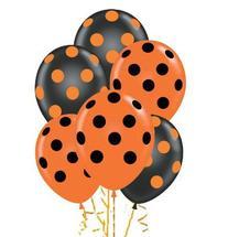 "11"" Assorted Black and Orange Polka Dot  Latex Balloon"