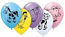 "Assorted Farm Animals 11"" Latex Balloons Qualatex"