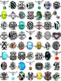 Pro Jewelry Assorted Silver Charms, Crystal Bead Charms,