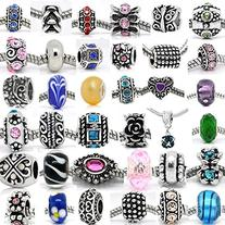 Pack of Assorted Silver Tone Charms, Rhinestones Bead