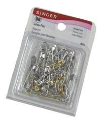 Singer Assorted Steel and Brass Safety Pins, Multisize, 50-
