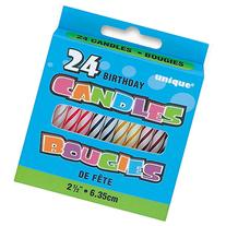 Assorted Color Striped Birthday Candles, 24ct