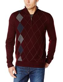 Haggar Men's Asymmetrical Argyle Quarter Zip Sweater,