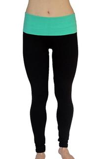 Athletic Cotton Spandex Leggings With Fold Down Waist