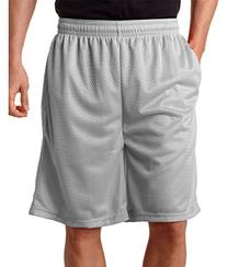 Badger Men's Athletic Mesh Short with Pockets, Silver, Large