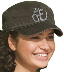 Aum Symbol Military Style Fidel Cap - Distressed  Design