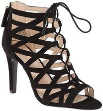 Nine West Women's Authority Suede Dress Sandal,Black,6.5 M