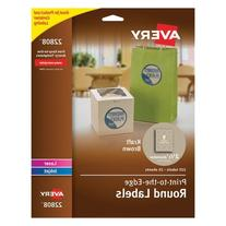 Avery Kraft Brown Print-to-the-Edge Round Labels-Labels,