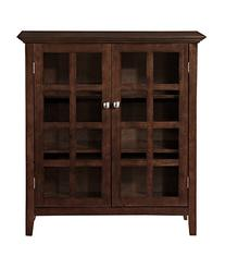 Simpli Home Acadian Medium Storage Cabinet, Rich Tobacco