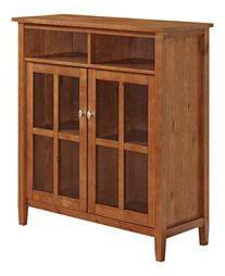 Simpli Home Warm Shaker Medium Storage Cabinet, Honey Brown