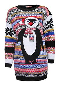 Forever Women's Aztec Penguin Print Neon Colourful Christmas
