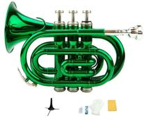 Merano B Flat Green Pocket Trumpet with Case+Mouth Piece;