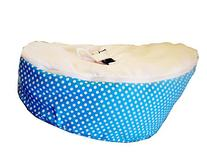 LCY Baby Bean Bag Chair/Bed White With Blue Dots-UNFILLED