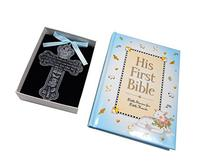 """Baby Boy First Bible and 4"""" Pewter Baptism Guardian Angel"""